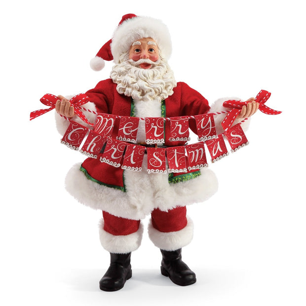 Possible Dreams Clothtique Banner Christmas Santa Figurine