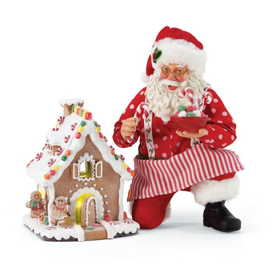 Possible Dreams Clothtique Gingerbread House Kit Santa Figurine