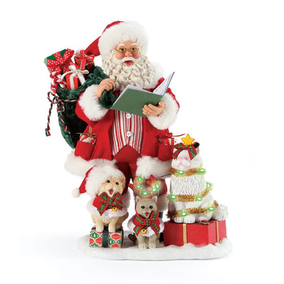 Possible Dreams Clothtique Kitten Carols Santa Figurine