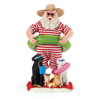 Possible Dreams Clothtique Dog Days Of Summer Santa Figurine