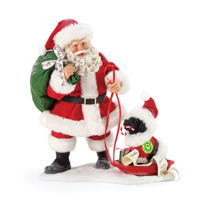 Possible Dreams Clothtique Santa's Dog In Training Santa Figurine