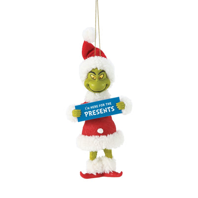 Possible Dreams Clothtique Here For The Presents Grinch Ornament