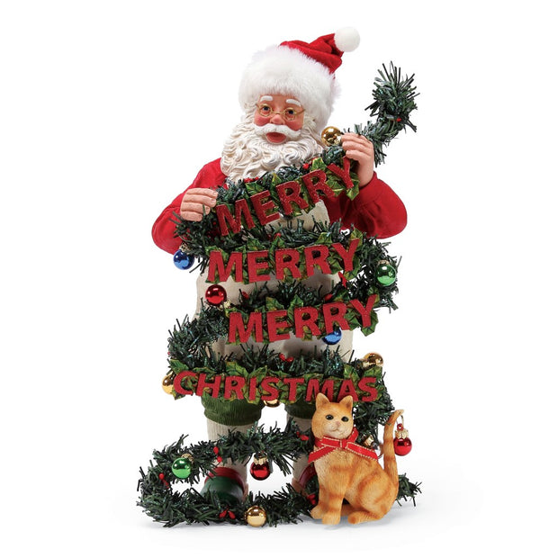 Possible Dreams Clothtique Purr-Fect Greeting Santa Figurine