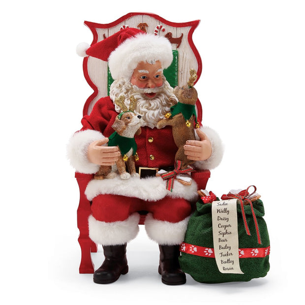 Possible Dreams Clothtique Sit, Stay, Pose Santa Figurine