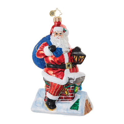 Christopher Radko Chimney Climber Santa Christmas Ornament