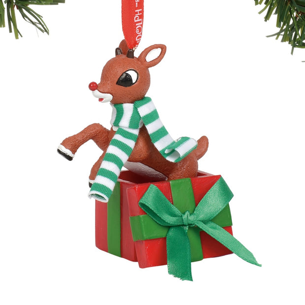 Rudolph The Red-Nosed Reindeer Jumping Out of Gift Ornament