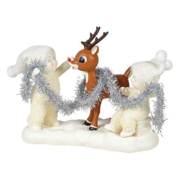 Snowbabies Decorating Rudolph Figurine