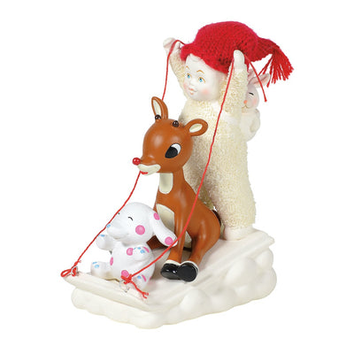 Snowbabies Sledding With Rudolph Figurine