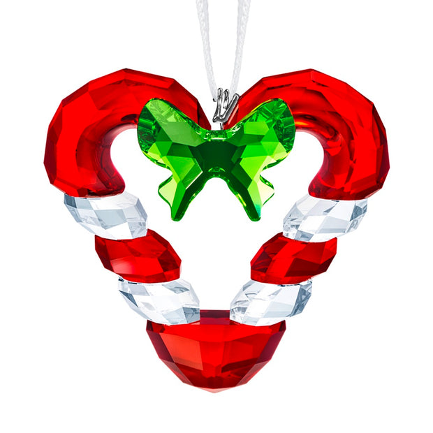Swarovski Crystal Candy Cane Heart Christmas Ornament
