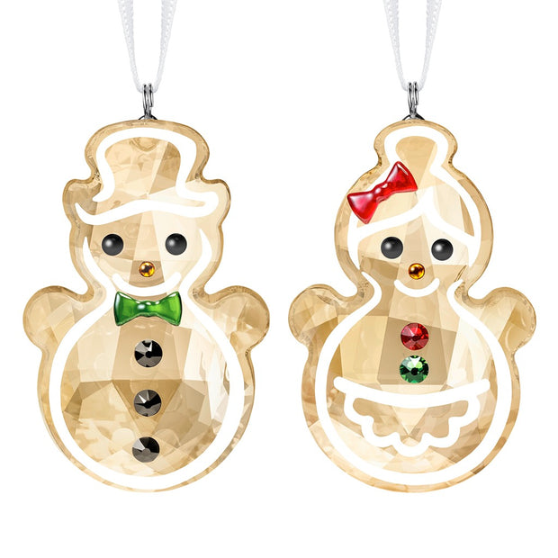 Swarovski Crystal Gingerbread Snowman Couple Christmas Ornament