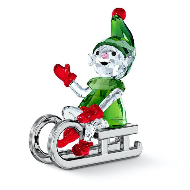 Swarovski Crystal Santa's Elf On Sleigh Figurine