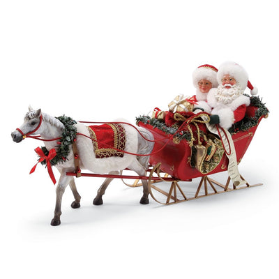 Possible Dreams Clothtique One Horse Open Sleigh Santa & Mrs. Claus Figurine