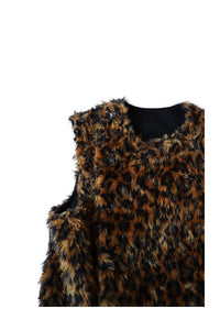 BLACK SIGN LEOPARD PATTERN SWINDLER VEST