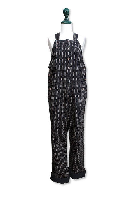 BLACK SIGN PLAYING CARD PATTERN BOTTON FLY APRON OVERALLS