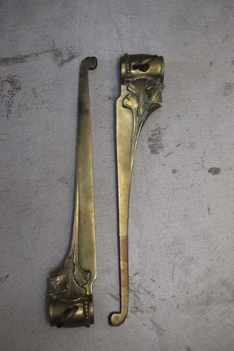 1900`s FRENCH BRASS SHELF BRACKETS ART NOUVEAU