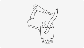 Illustration of heating a strip of Forj ribbon in a pot of hot water