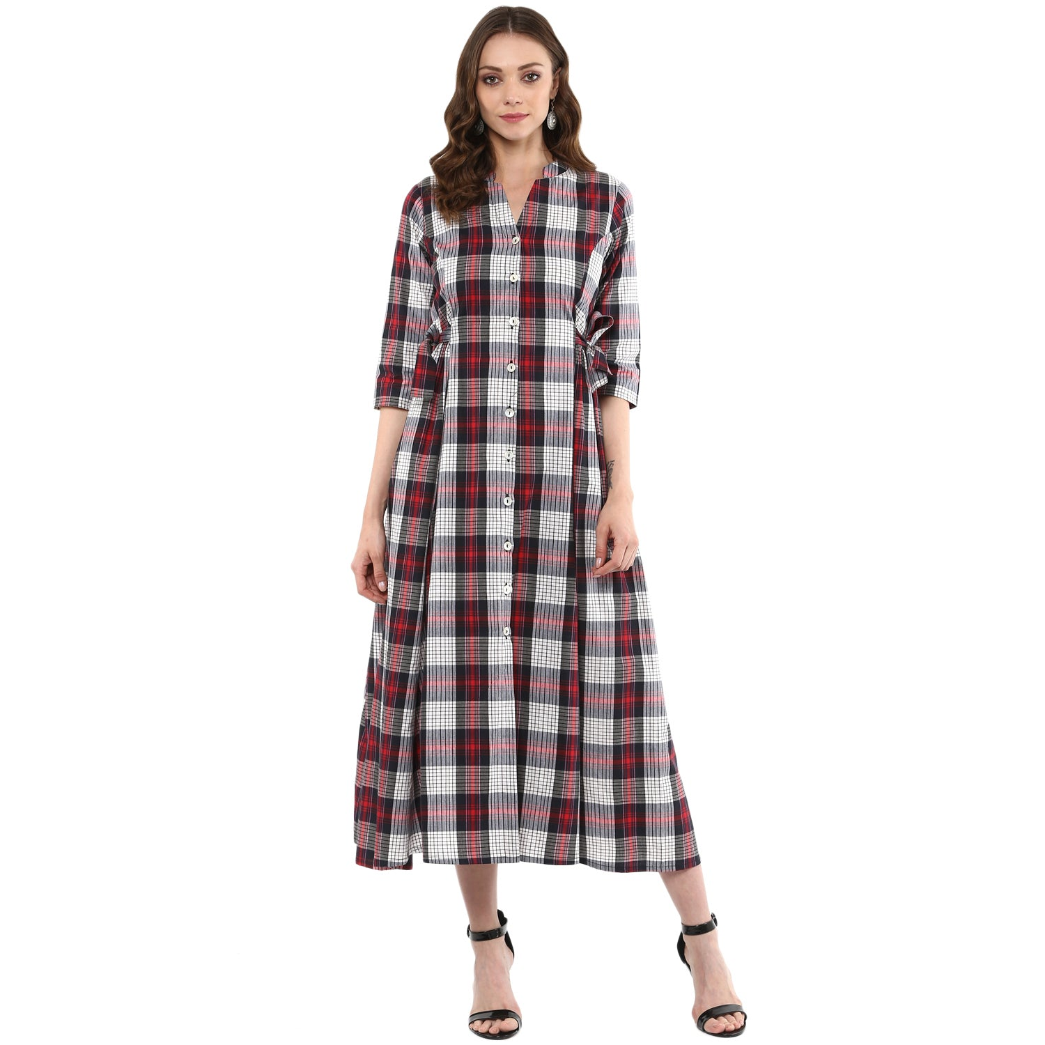 Idalia Red & White Checkered A-Line Kurta