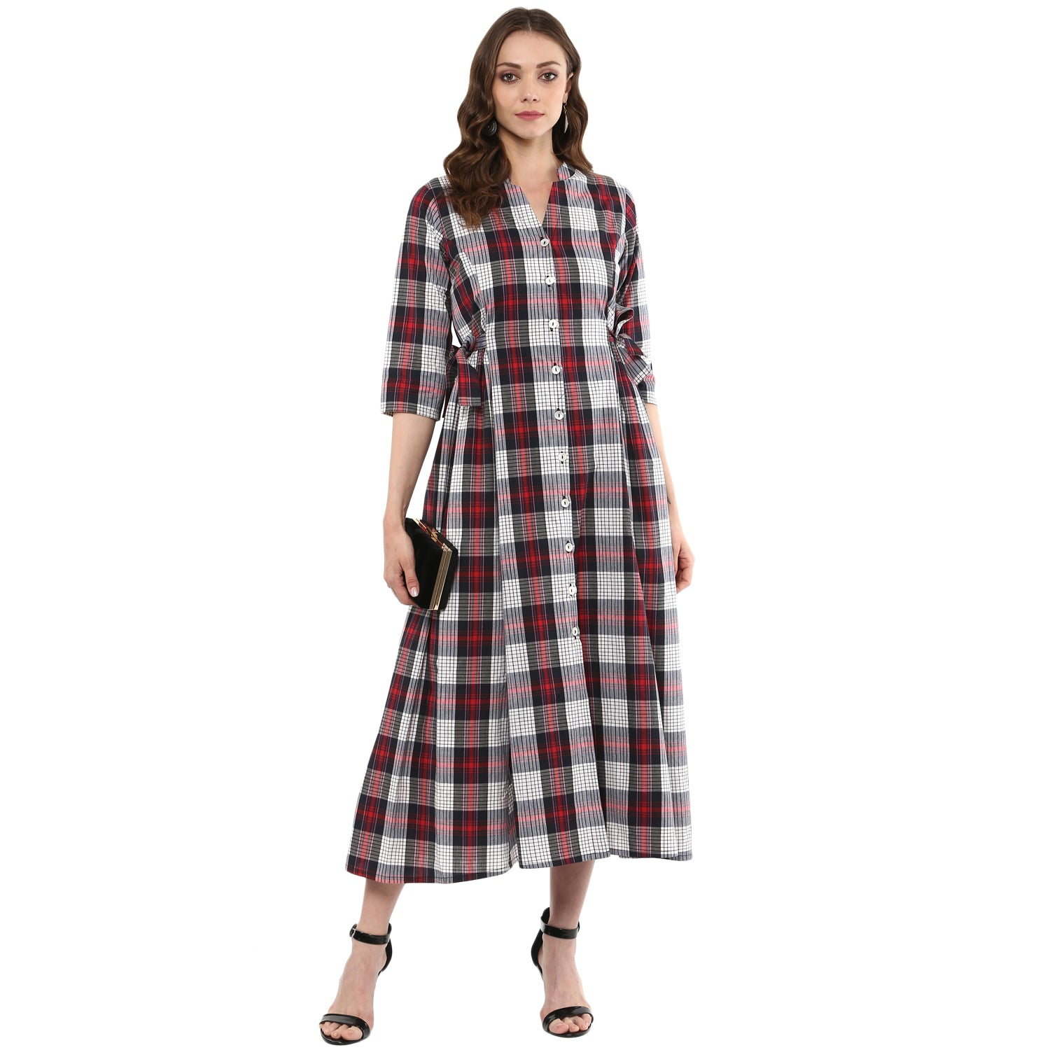 Idalia Women Red & White Checkered A-Line Kurta