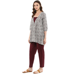 Idalia Women Multicolored Printed Floral Tunic with Maroon Pants