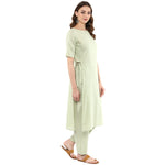 Idalia Women Sage Green Straight Kurta with Pants