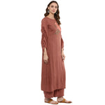 Idalia Women Rose Gold Embroided Straight Kurta with Palazzo Pants