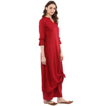 Idalia Women Maroon Knotted A-Line Kurta with Palazzo Pants
