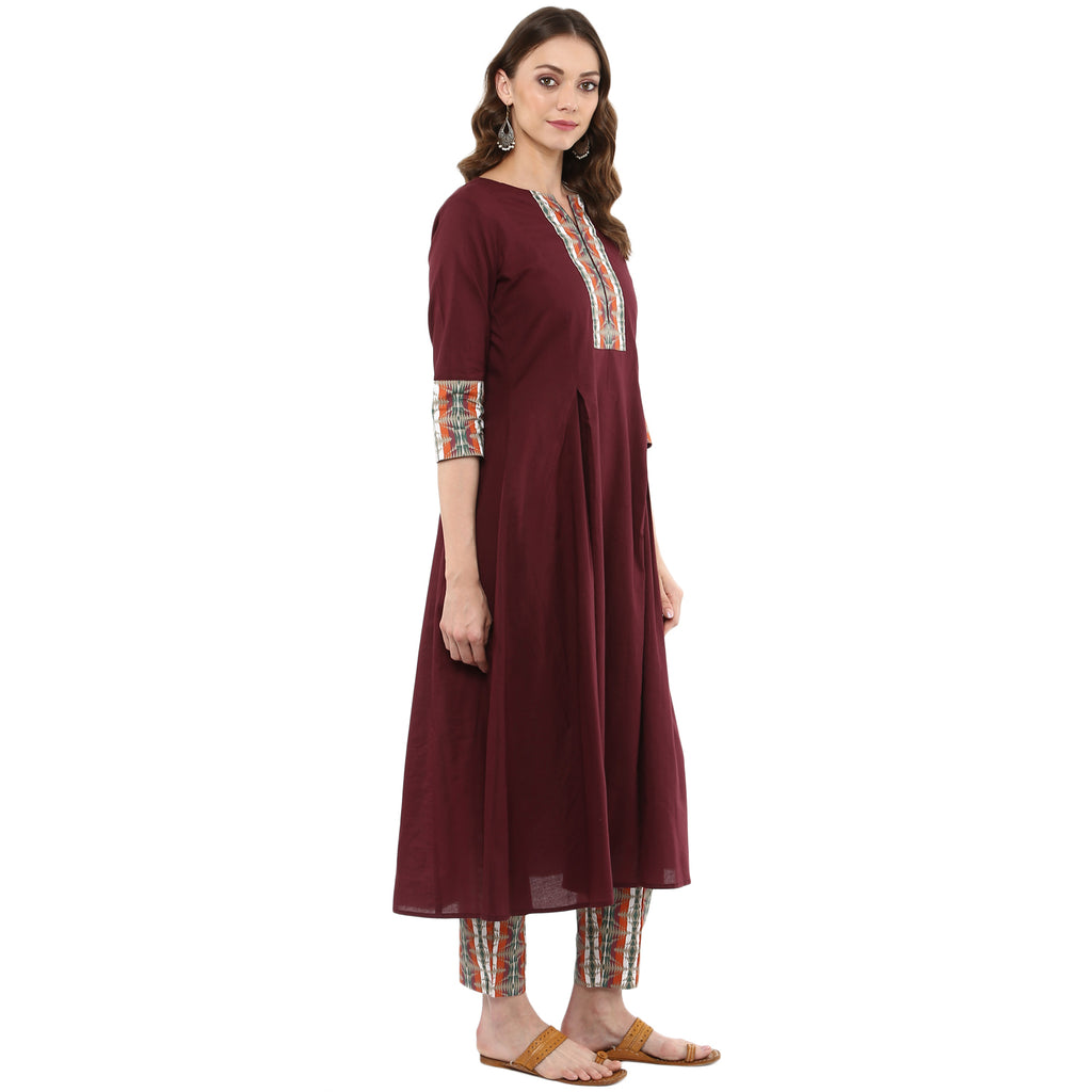 Idalia Women Wine Flared Kurta with Printed Pants