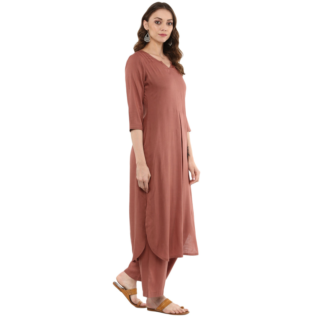Idalia Women Rose Gold Straight Solid Kurta with Palazzo