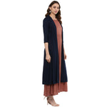 Idalia Rose Gold Layered Kurta with Blue Upper