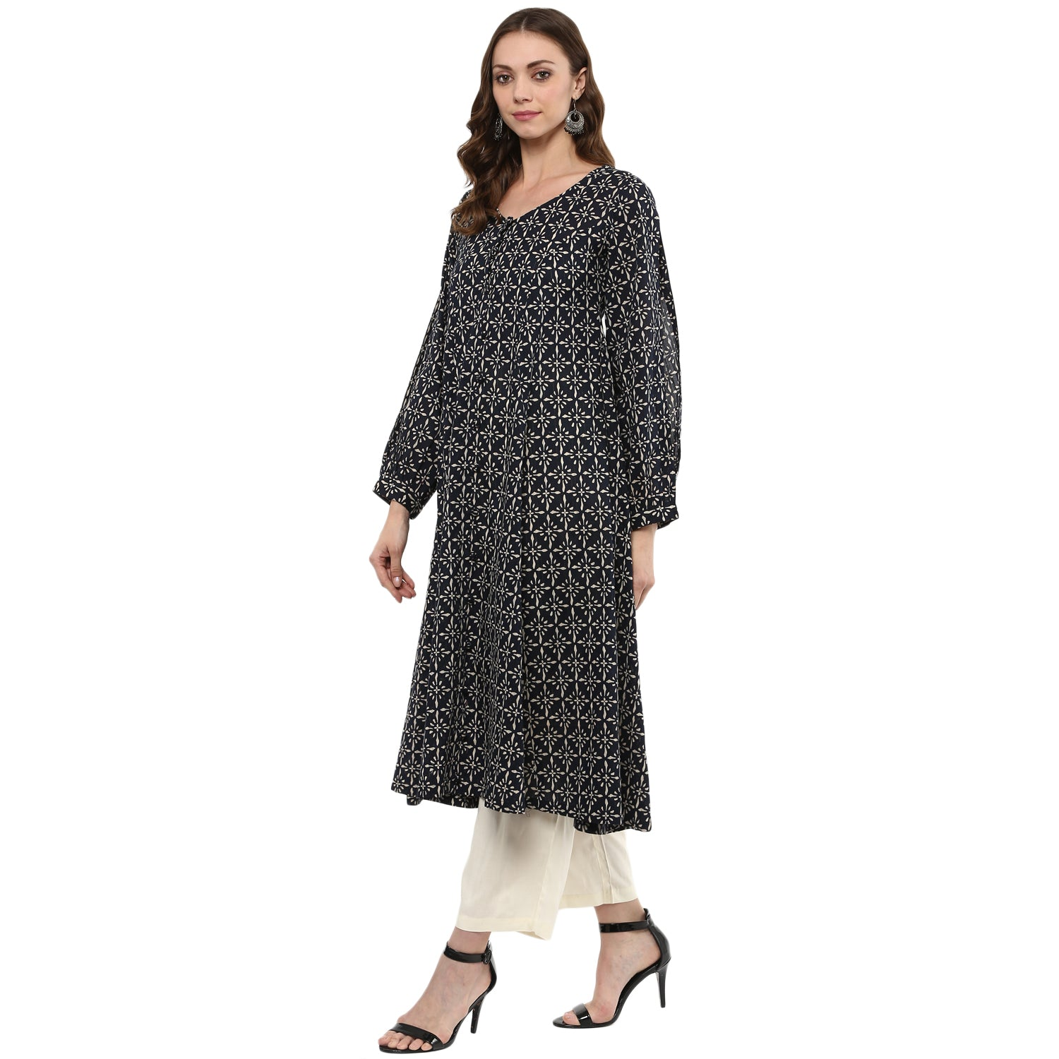 Idalia Women Blue Textured Cold- Shoulder Kurta