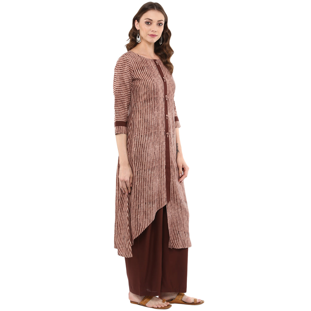 Idalia Women Brown Printed A-Line Kurta with Palazzo Pants