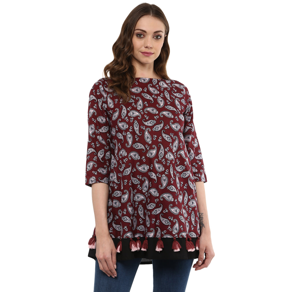Idalia Women Maroon Umbrella Cut Tunic