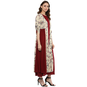 Idalia Maroon Layered Kurta with Printed Upper