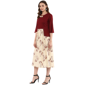Idalia Maroon & Beige Pleated Dress