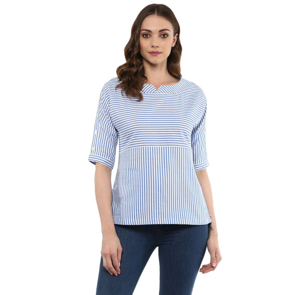 Idalia Women Blue- White Striped Top