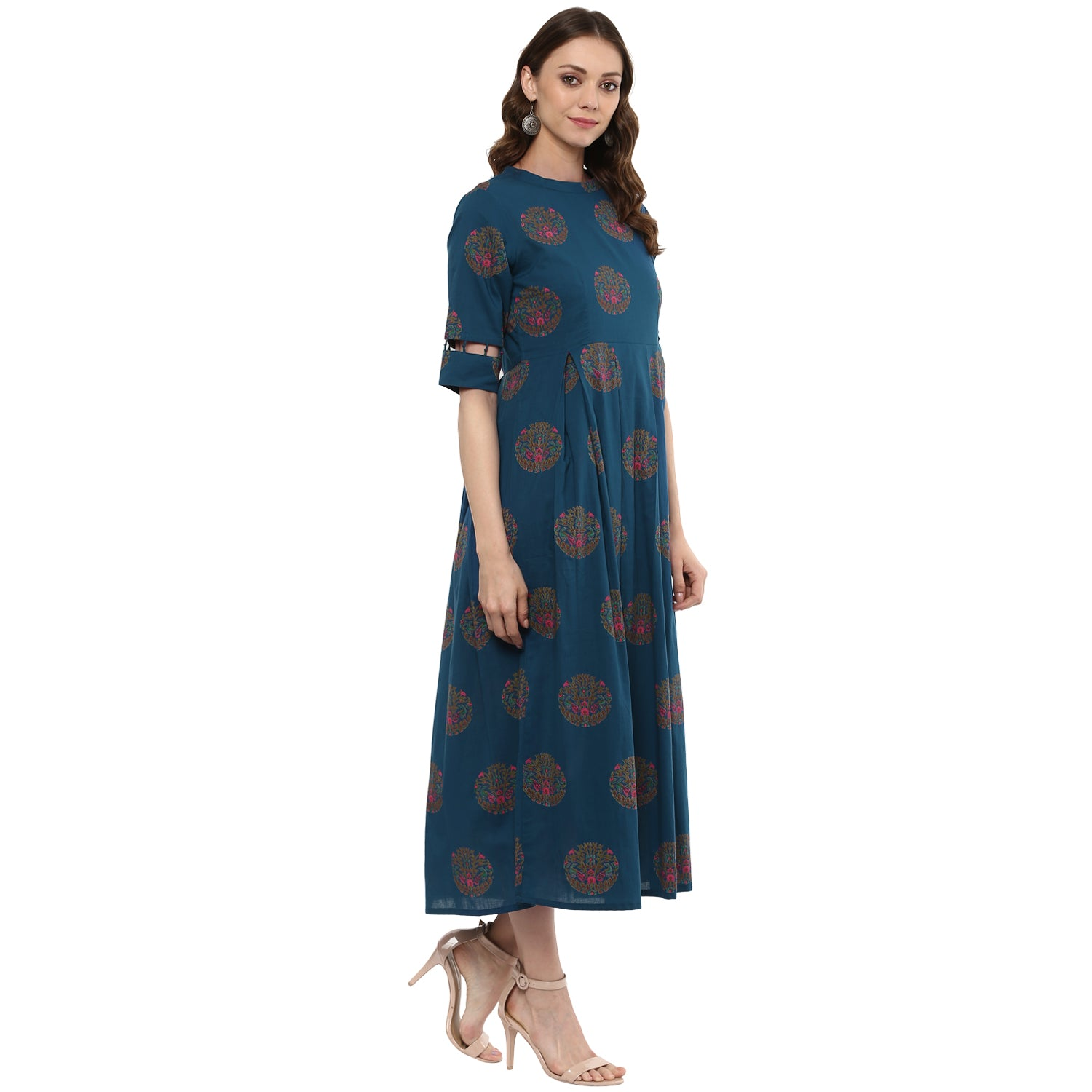 Idalia Women Blue Box Pleated Kurta
