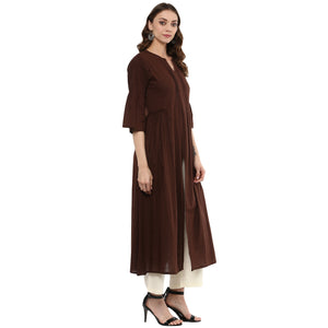Idalia Women Coffe Flared Kurta with Front Slit