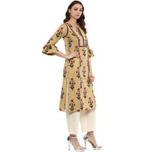 Idalia Women Burly Wood Printed Straight Kurta