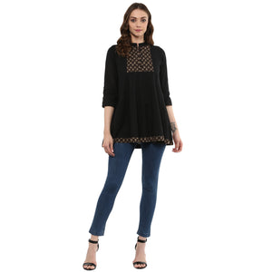 Idalia Women Black Anarkali Tunic