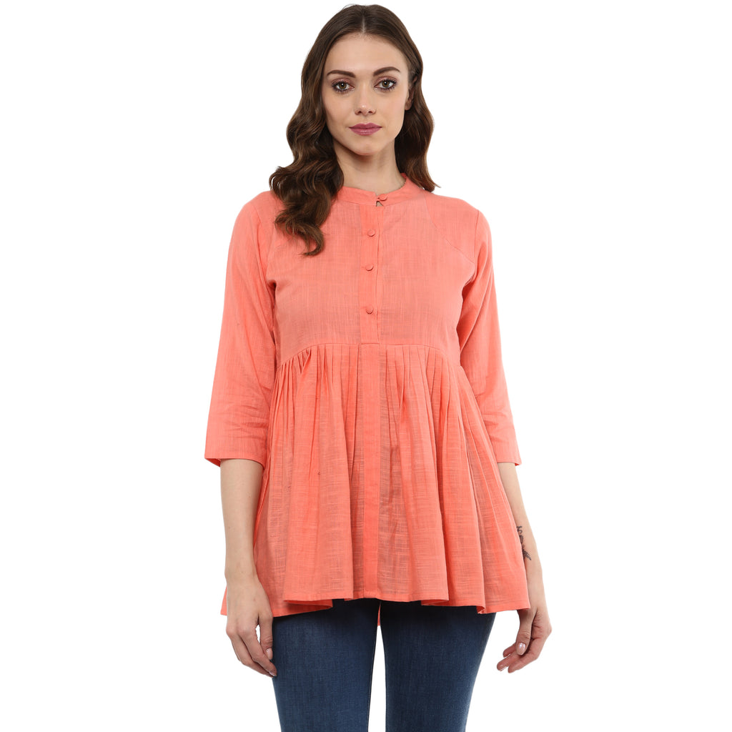 Idalia Women Peach Flared Top