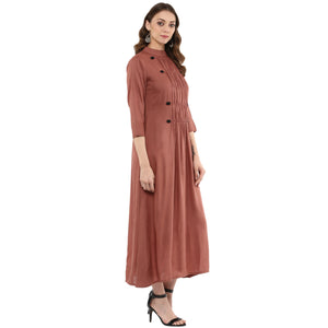 Idalia Women Rose Gold Flared Kurta