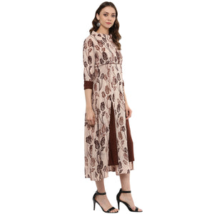 Idalia Women Coffee Color Flared Kurta
