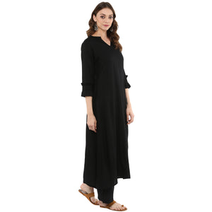Idalia Women Black A-Line Kurta With Palazzo Pants
