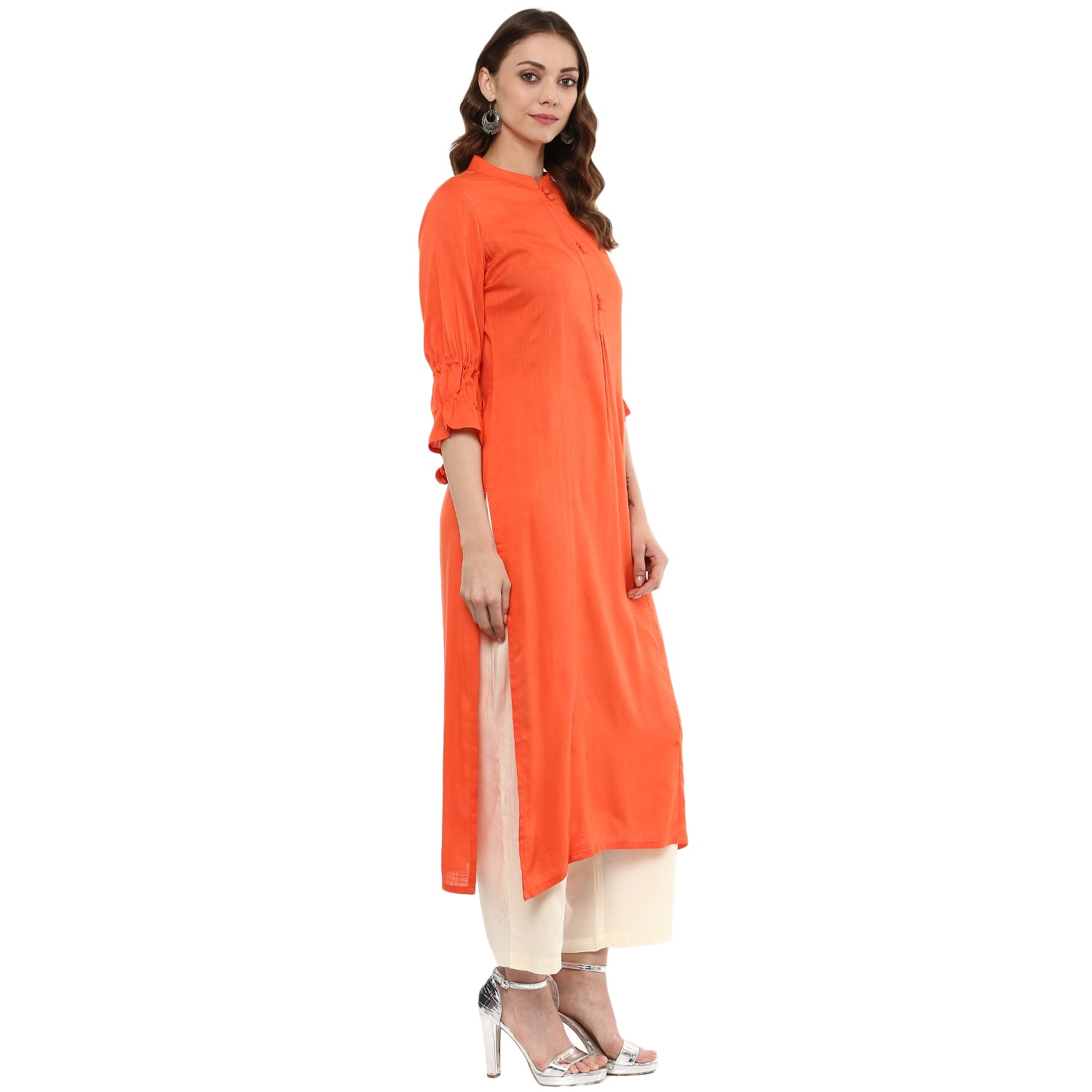 Idalia Women Orange Solid Straight Kurta