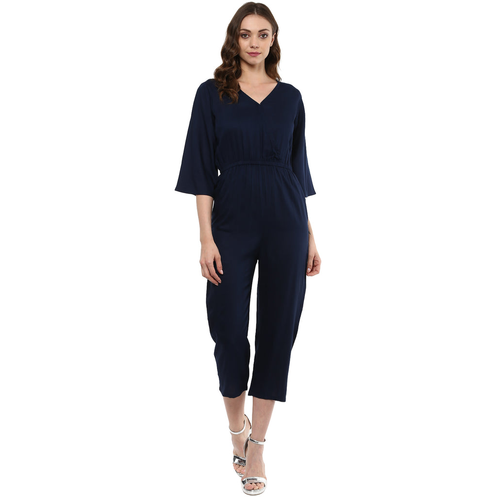 Idalia Navy Blue V-Neck Jumpsuit