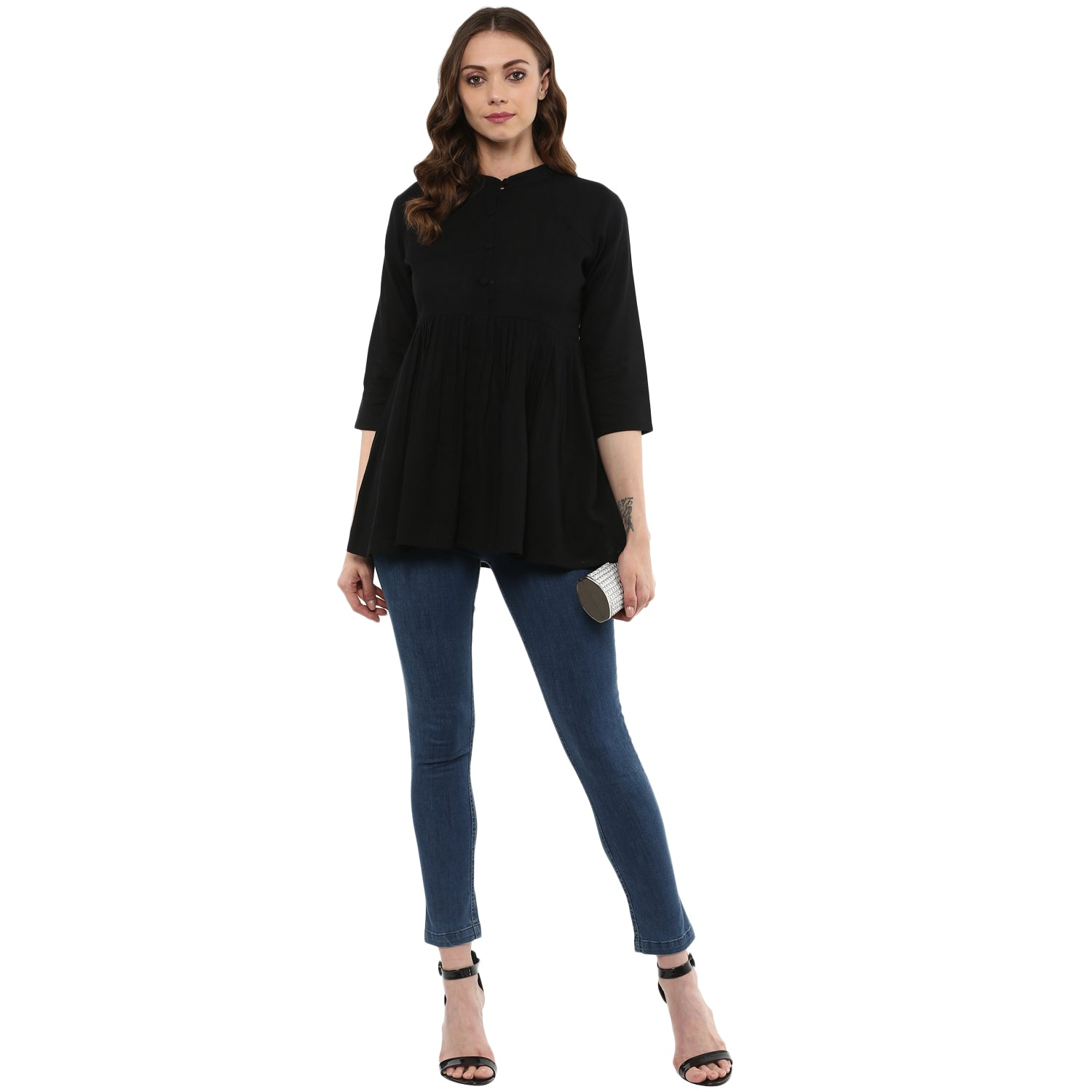 Idalia Women Black Flared Top