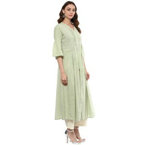 Idalia Women Sage Green Flared Kurta