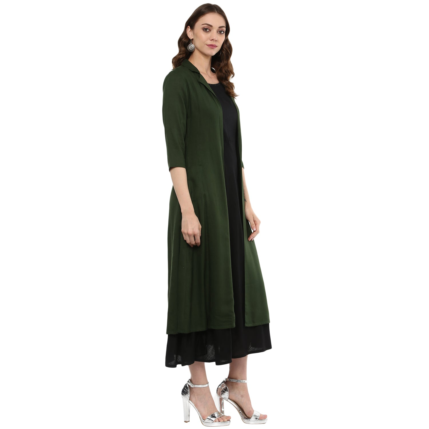Idalia Black Kurta with Green Layered Upper