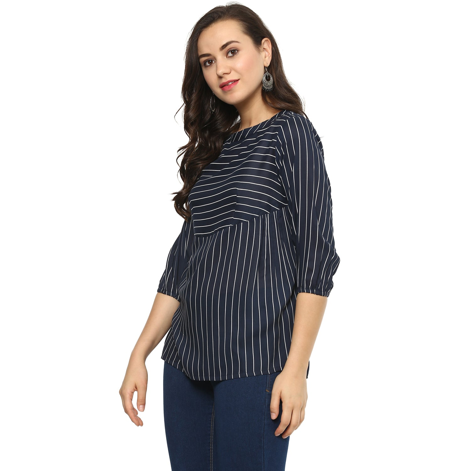 Idalia Women Navy Blue Striped Top
