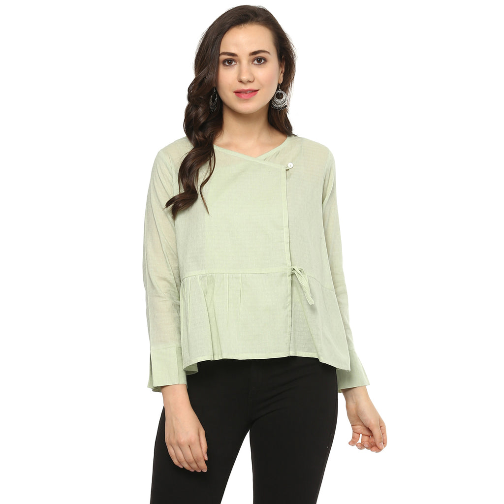 Idalia Women Sage Green Angrakha Top